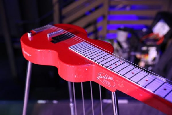 Slide guitar with foot pedals